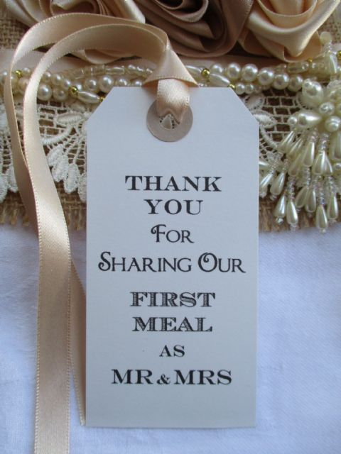 10 Thank You for Sharing Our First Meal as Mr & Mrs Napkin Tie White